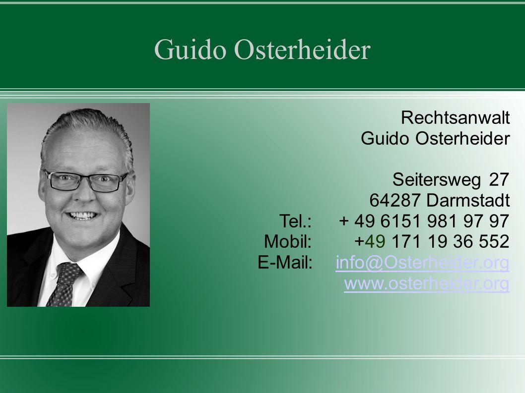 Guido Osterheider Rechtsanwalt Guido Osterheider Seitersweg 27
