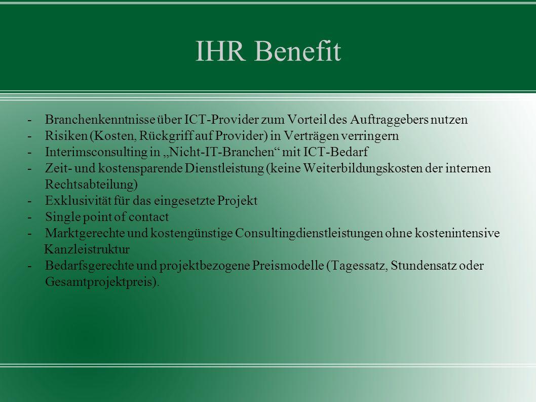 IHR Benefit - Branchenkenntnisse über ICT-Provider zum Vorteil des Auftraggebers nutzen.