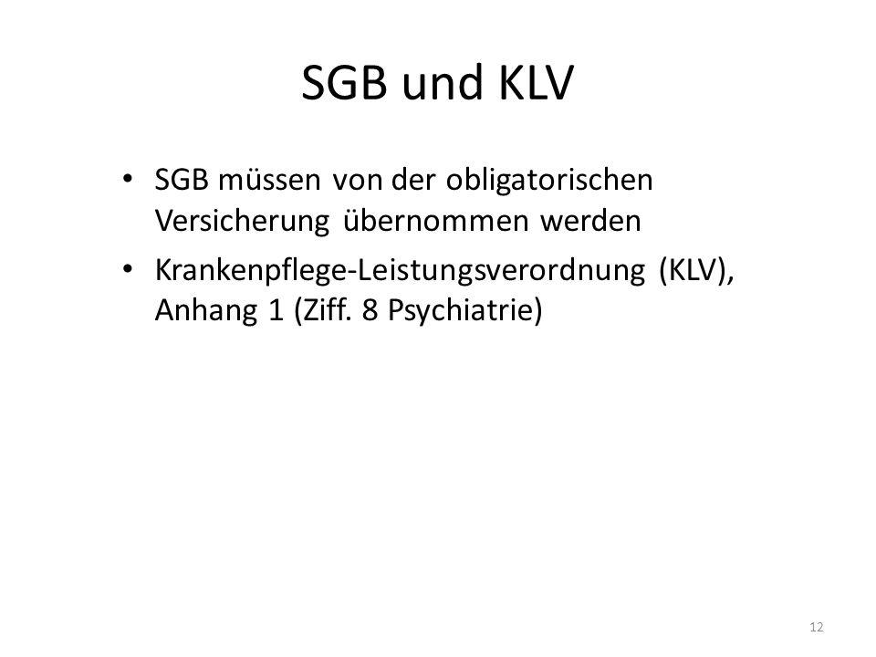 SGB und KLV SGB müssen von der obligatorischen Versicherung übernommen werden.