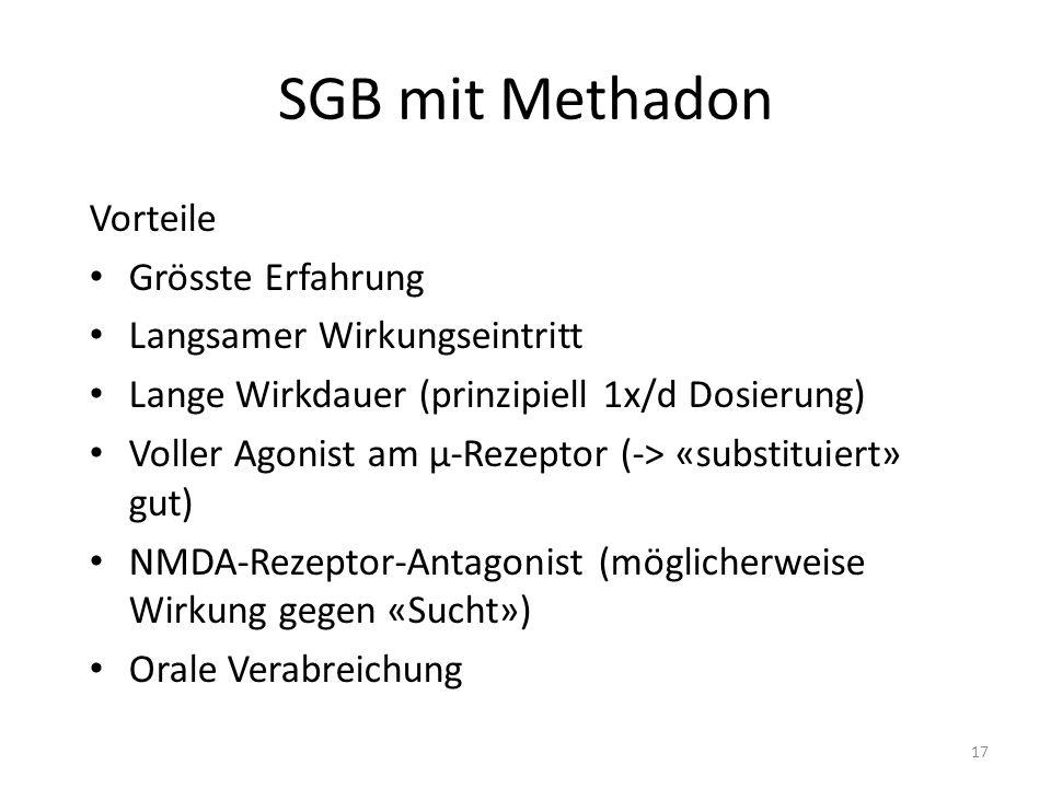 SGB mit Methadon Vorteile Grösste Erfahrung Langsamer Wirkungseintritt