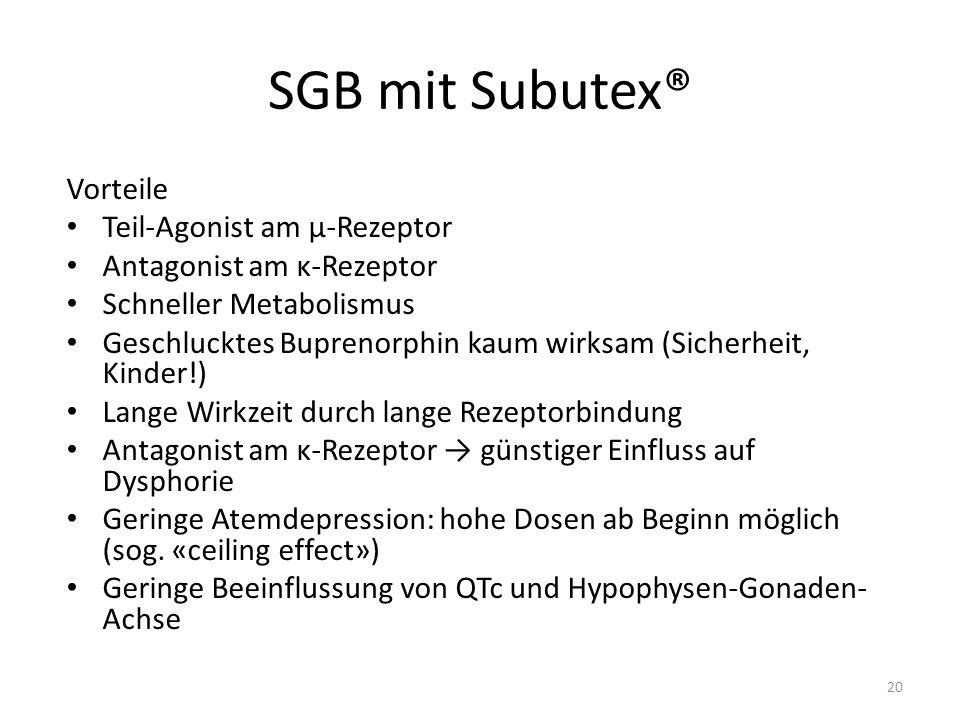 SGB mit Subutex® Vorteile Teil-Agonist am µ-Rezeptor