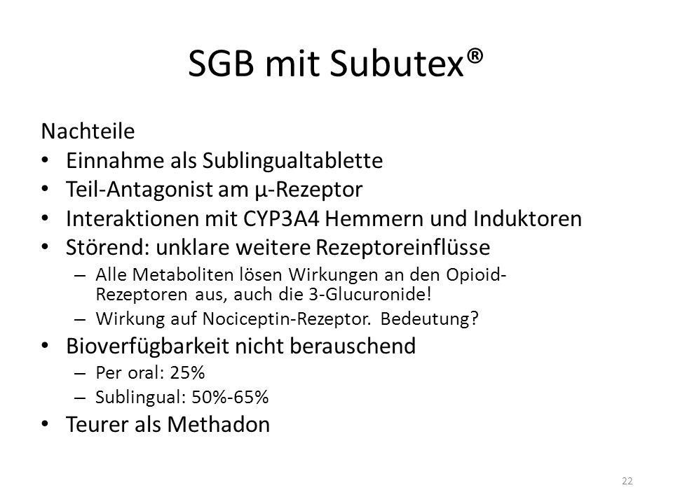SGB mit Subutex® Nachteile Einnahme als Sublingualtablette