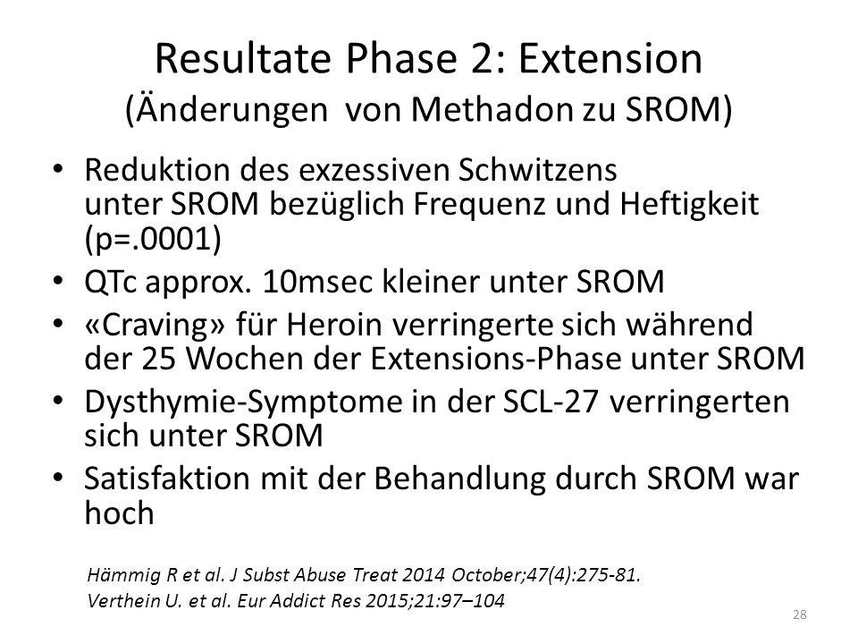 Resultate Phase 2: Extension (Änderungen von Methadon zu SROM)