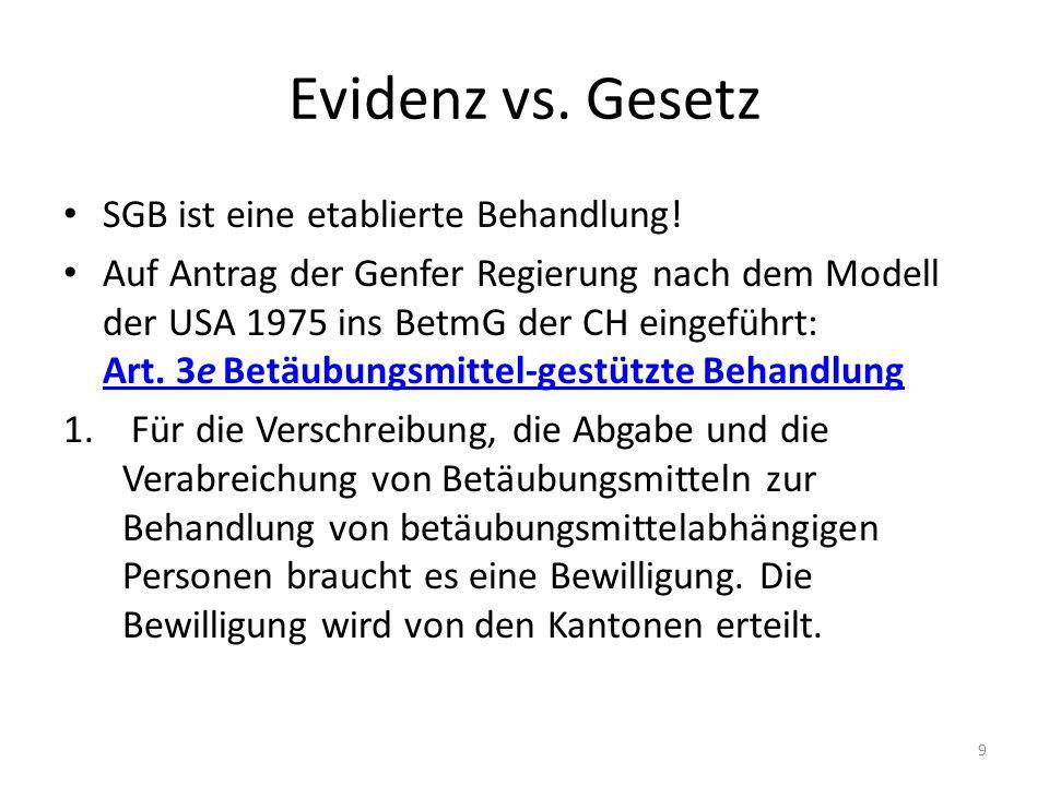 Evidenz vs. Gesetz SGB ist eine etablierte Behandlung!