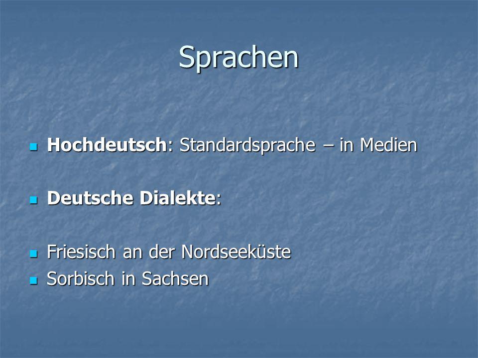 Sprachen Hochdeutsch: Standardsprache – in Medien Deutsche Dialekte: