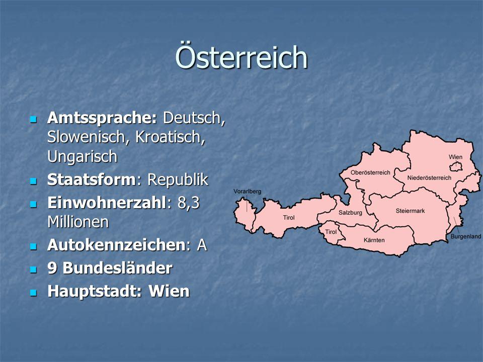 Österreich Amtssprache: Deutsch, Slowenisch, Kroatisch, Ungarisch