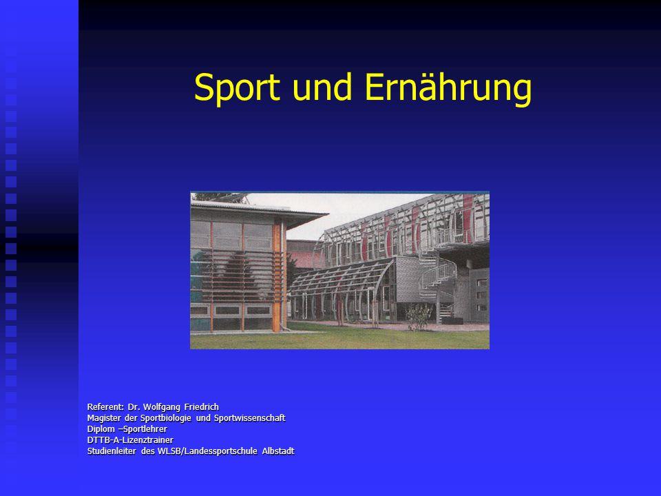 Sport und Ernährung Referent: Dr. Wolfgang Friedrich