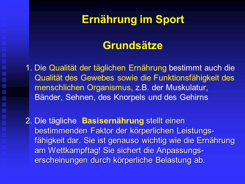 Ernährung im Sport Grundsätze