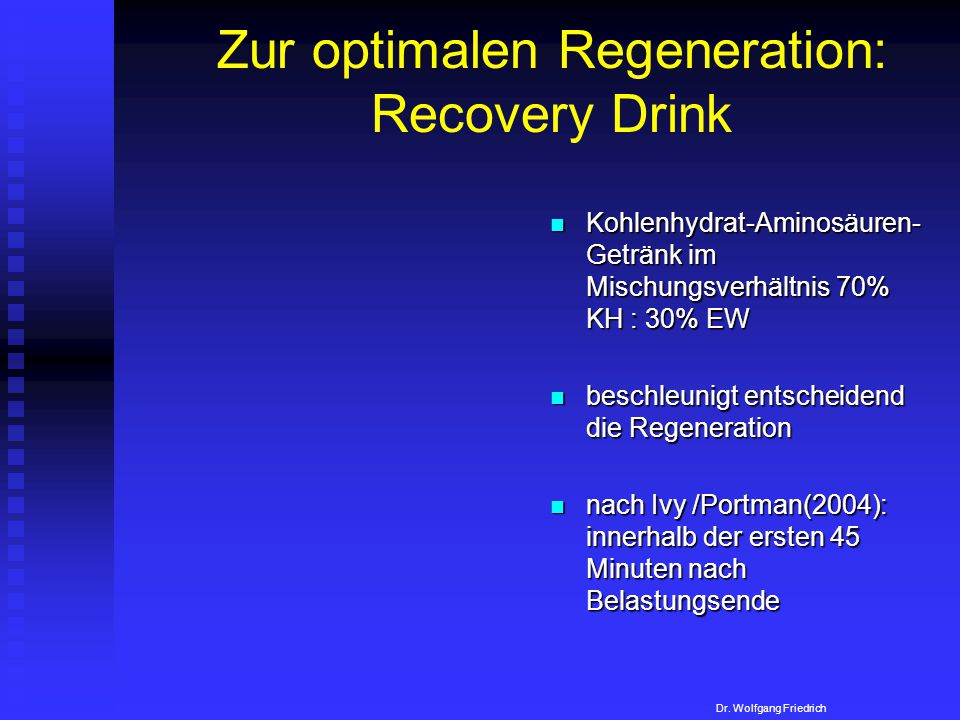 Zur optimalen Regeneration: Recovery Drink