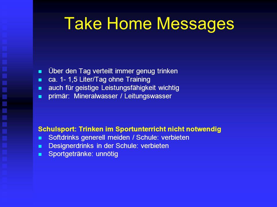 Take Home Messages Über den Tag verteilt immer genug trinken