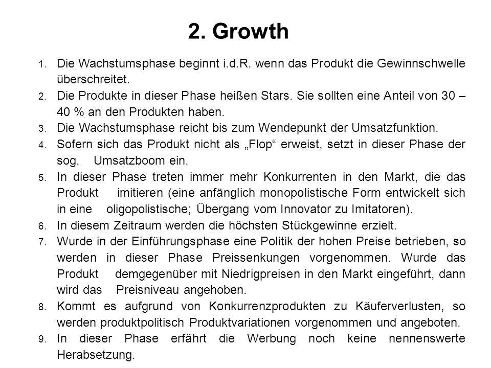 2. Growth Die Wachstumsphase beginnt i.d.R. wenn das Produkt die Gewinnschwelle überschreitet.