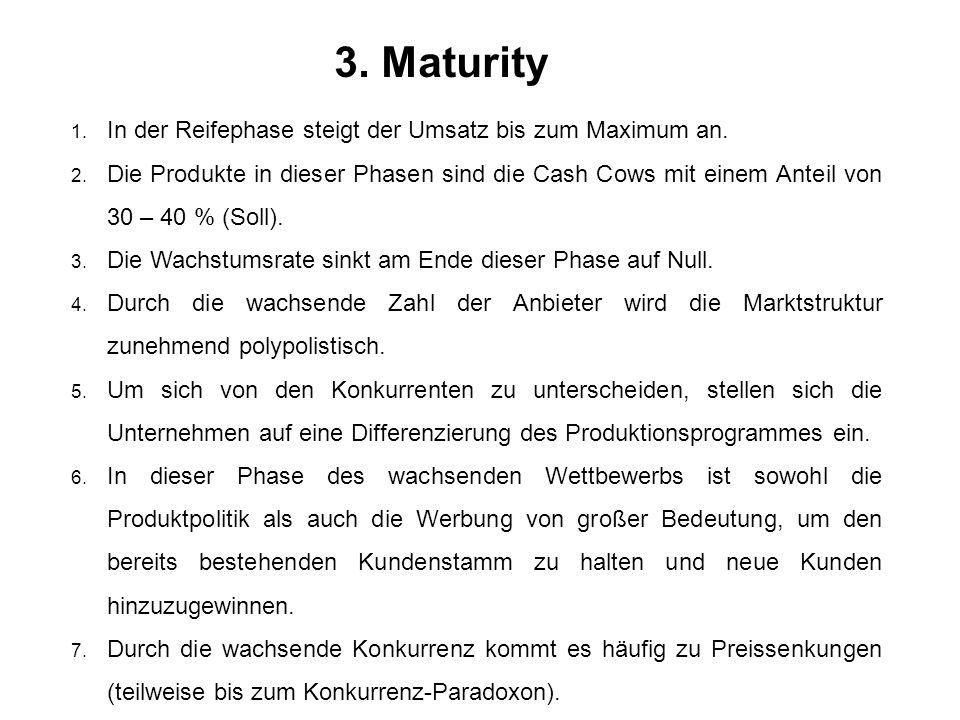 3. Maturity In der Reifephase steigt der Umsatz bis zum Maximum an.