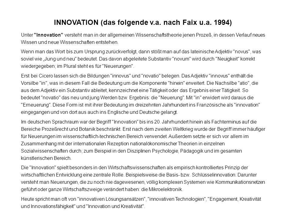 INNOVATION (das folgende v.a. nach Faix u.a. 1994)