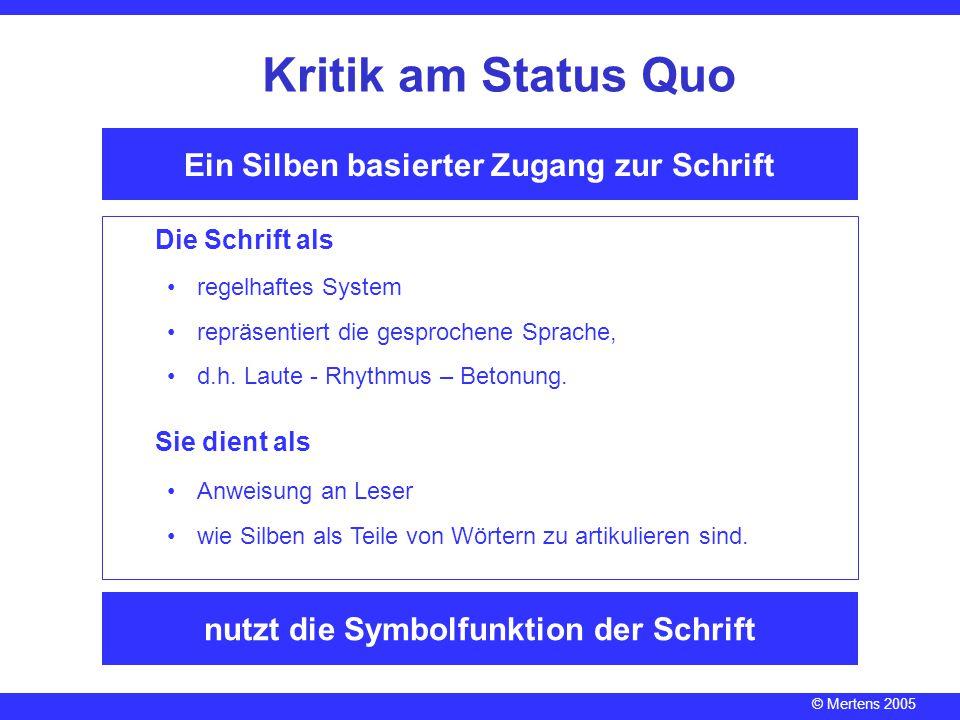 Kritik am Status Quo Ein Silben basierter Zugang zur Schrift