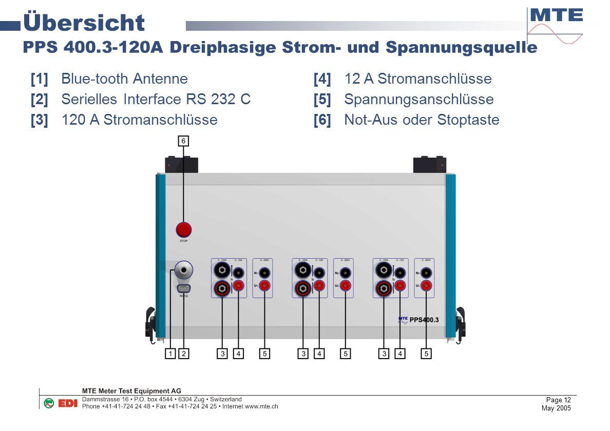 Übersicht PPS 400.3-120A Dreiphasige Strom- und Spannungsquelle