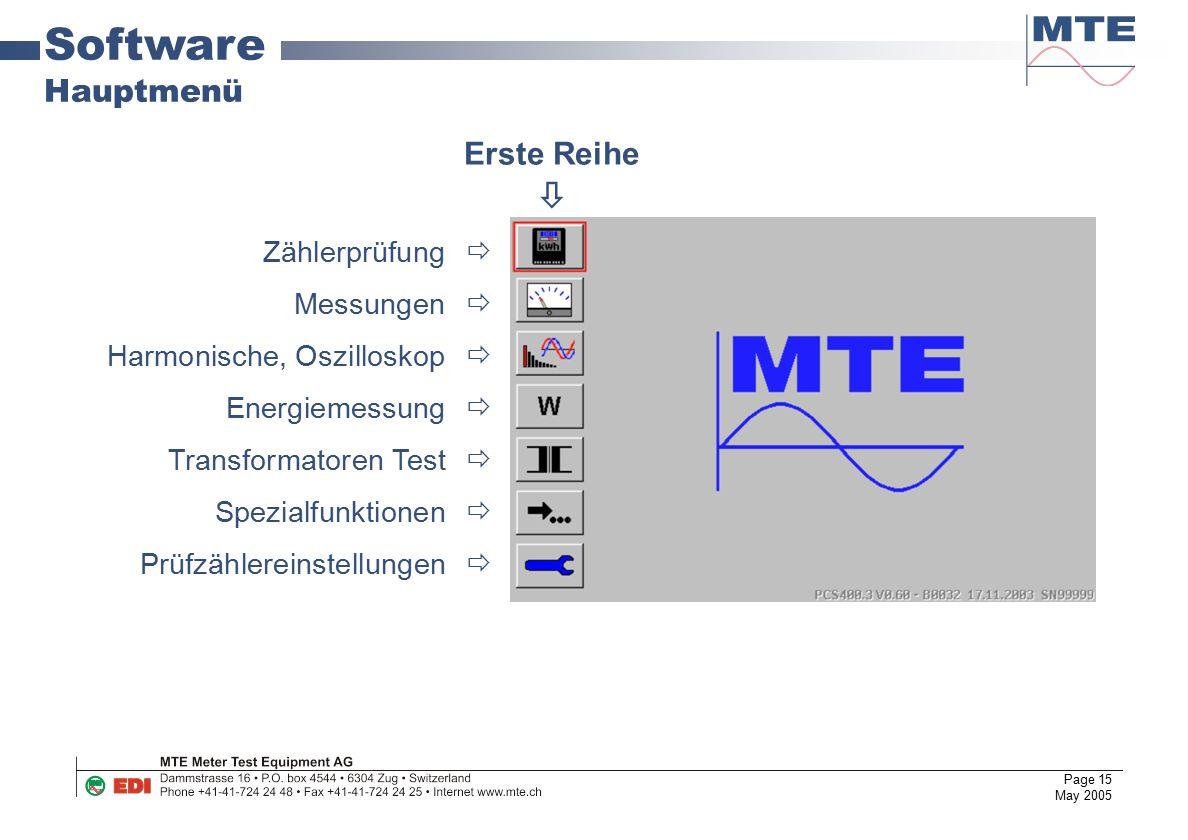 Software Hauptmenü Erste Reihe  Zählerprüfung  Messungen 