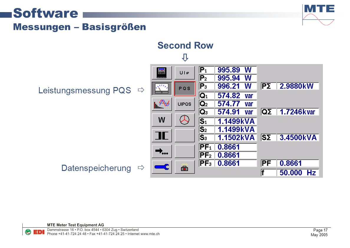 Software Messungen – Basisgrößen Second Row  Leistungsmessung PQS 