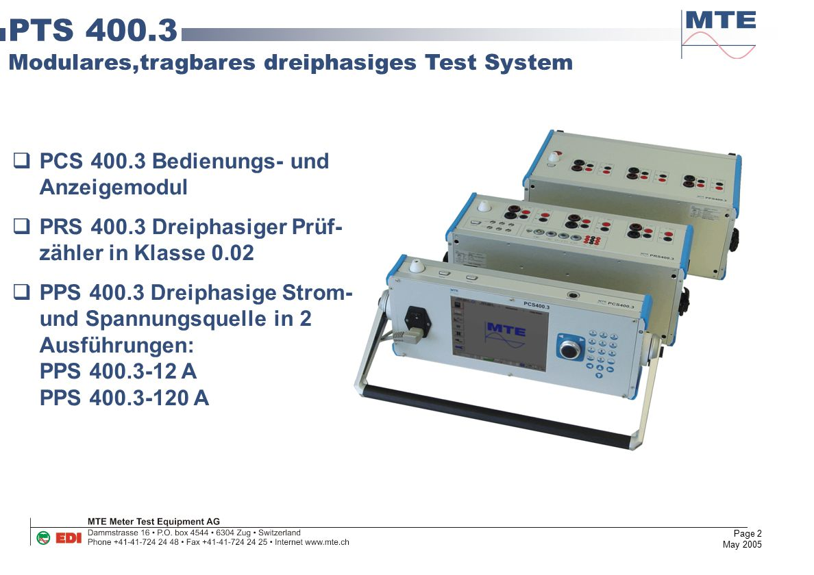 PTS 400.3 Modulares,tragbares dreiphasiges Test System