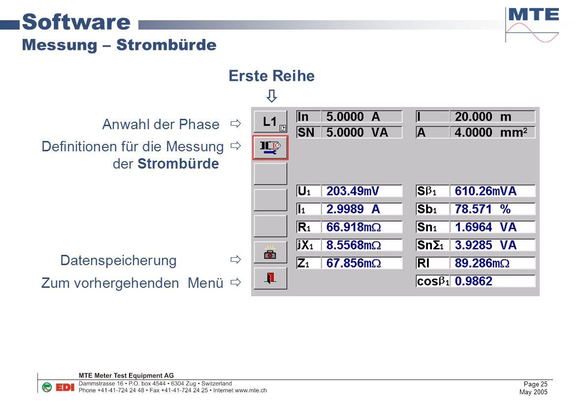 Software Messung – Strombürde Erste Reihe  Anwahl der Phase 