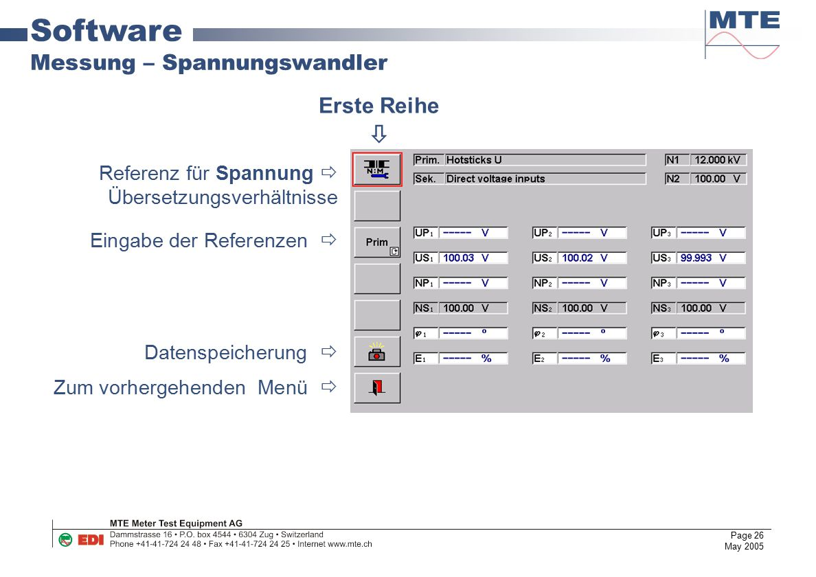 Software Messung – Spannungswandler Erste Reihe 