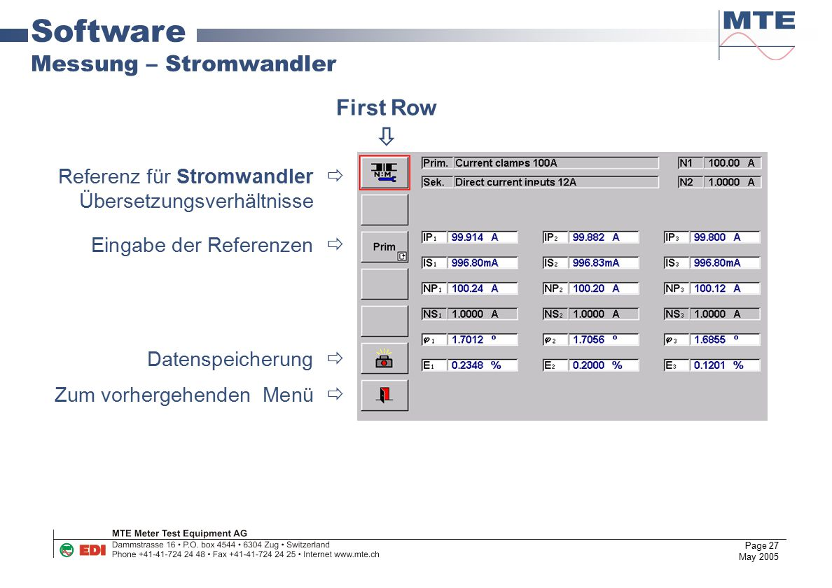 Software Messung – Stromwandler First Row 