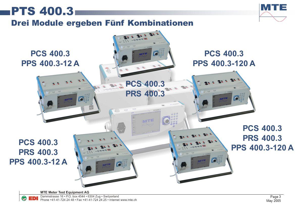 PTS 400.3 Drei Module ergeben Fünf Kombinationen