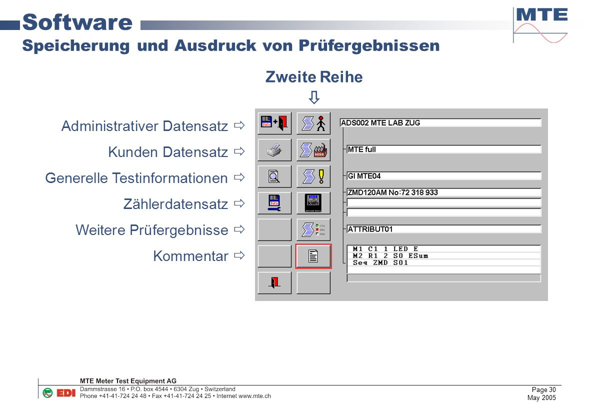 Software Speicherung und Ausdruck von Prüfergebnissen Zweite Reihe 