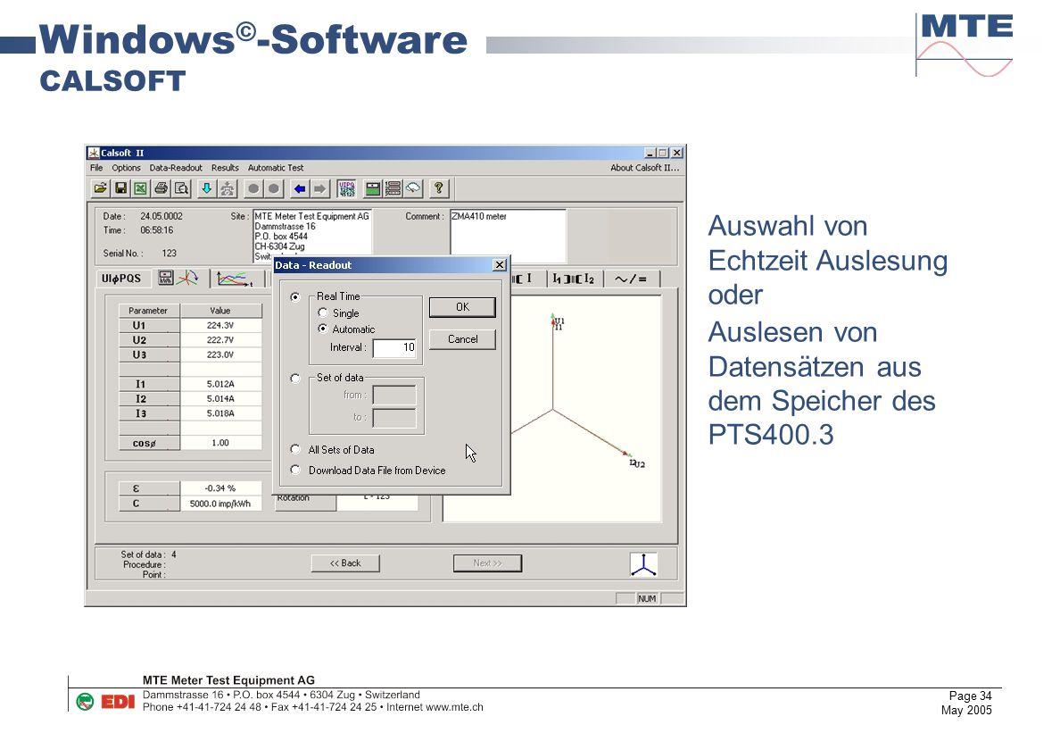 Windows©-Software CALSOFT Auswahl von Echtzeit Auslesung oder