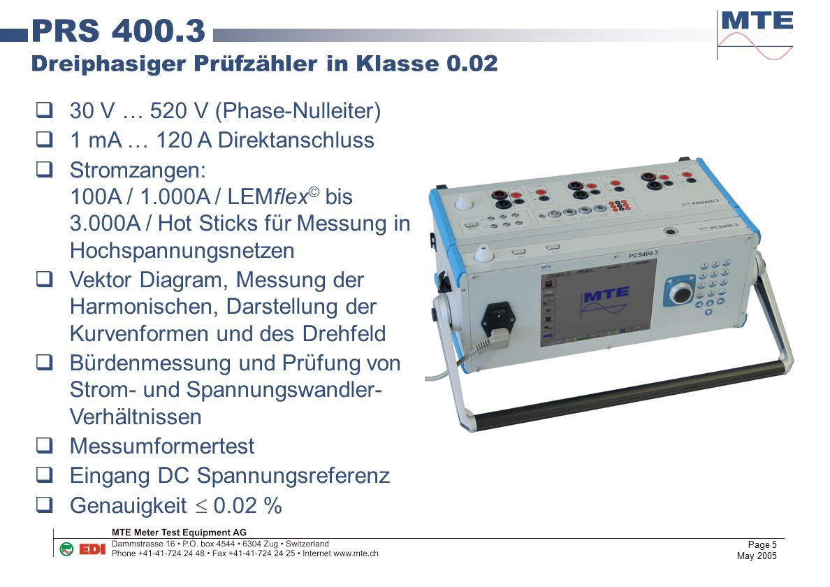 PRS 400.3 Dreiphasiger Prüfzähler in Klasse 0.02