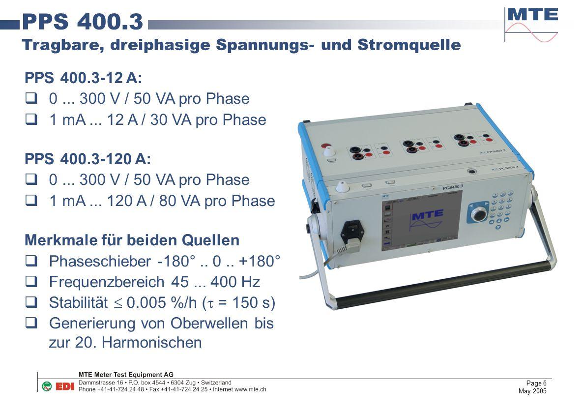 PPS 400.3 Tragbare, dreiphasige Spannungs- und Stromquelle