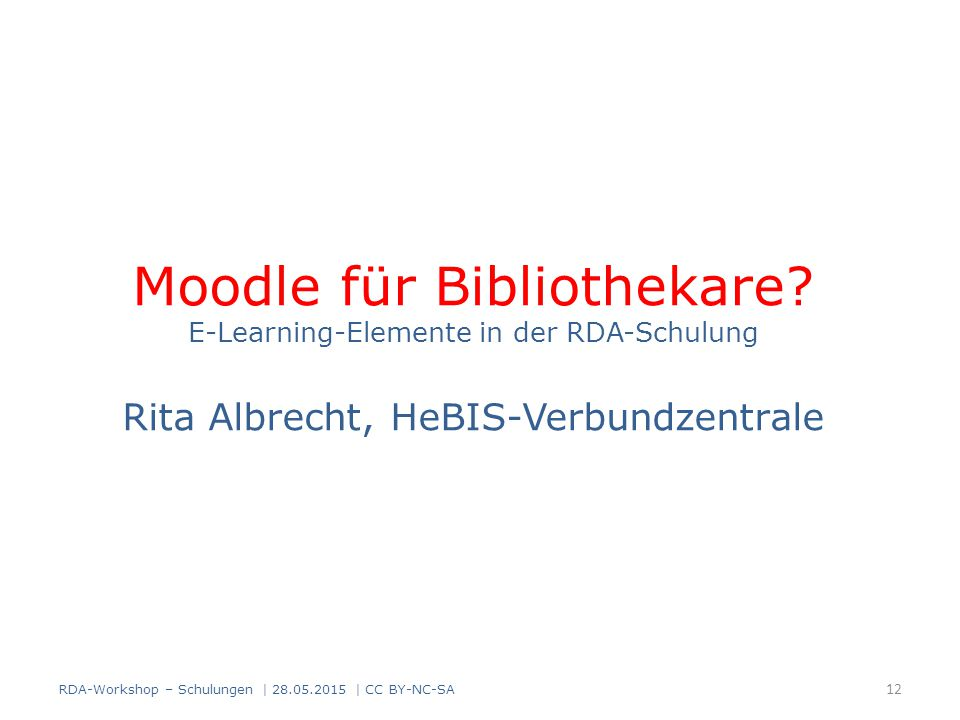 Moodle für Bibliothekare