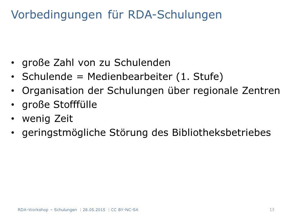 Vorbedingungen für RDA-Schulungen