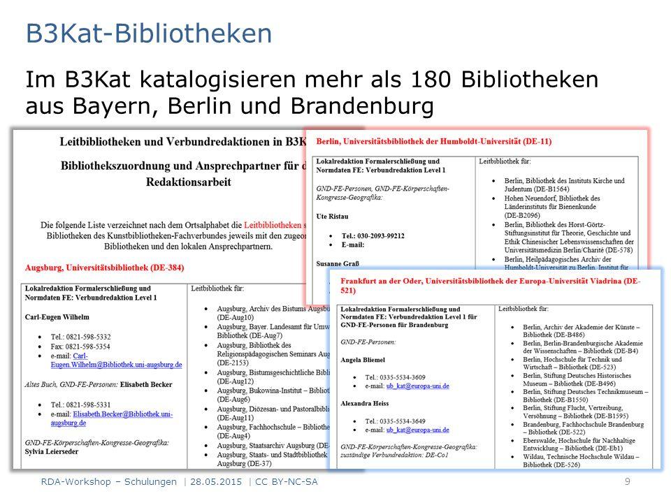 B3Kat-Bibliotheken Im B3Kat katalogisieren mehr als 180 Bibliotheken aus Bayern, Berlin und Brandenburg.