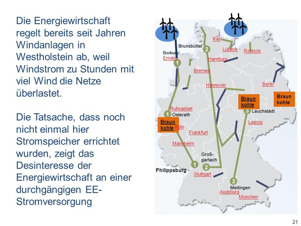 Die Energiewirtschaft regelt bereits seit Jahren Windanlagen in Westholstein ab, weil Windstrom zu Stunden mit viel Wind die Netze überlastet.