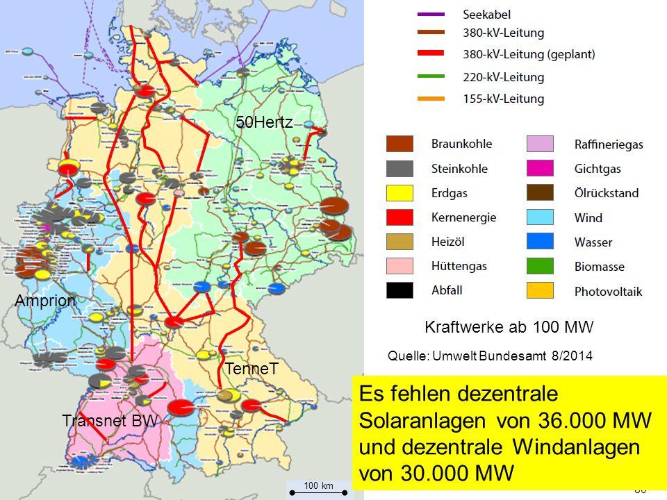 50Hertz Amprion. Kraftwerke ab 100 MW. Quelle: Umwelt Bundesamt 8/2014. TenneT.