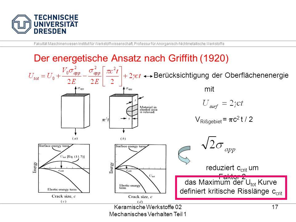 Der energetische Ansatz nach Griffith (1920)