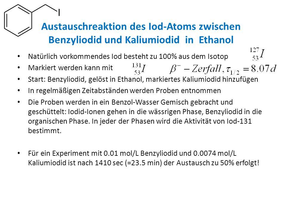 Austauschreaktion des Iod-Atoms zwischen Benzyliodid und Kaliumiodid in Ethanol