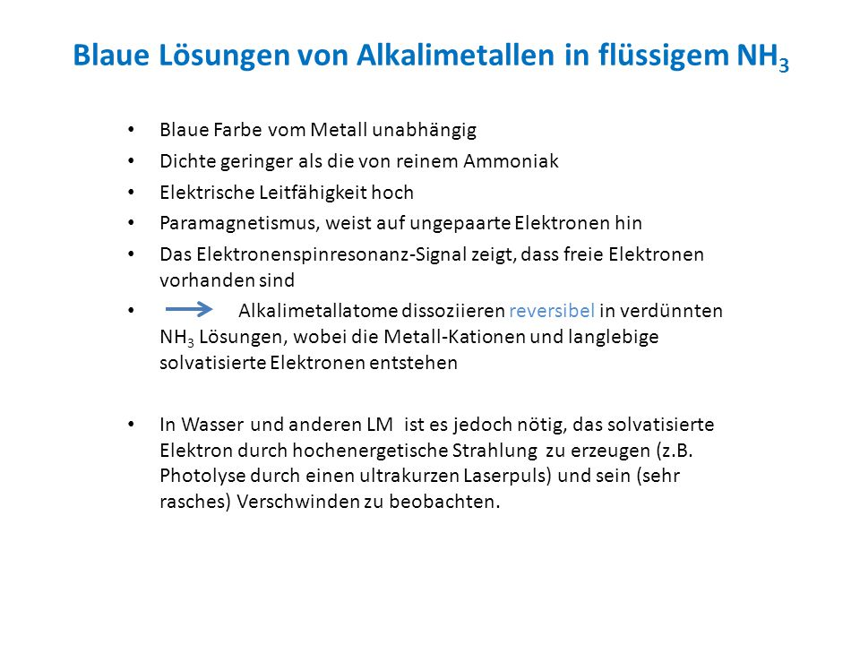 Blaue Lösungen von Alkalimetallen in flüssigem NH3