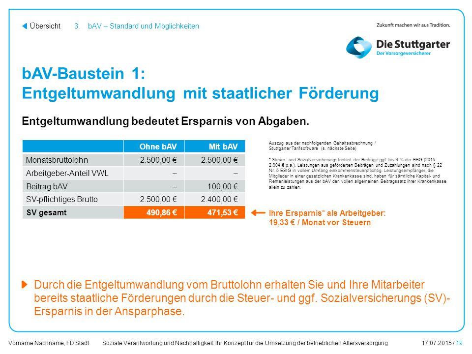 bAV-Baustein 1: Entgeltumwandlung mit staatlicher Förderung