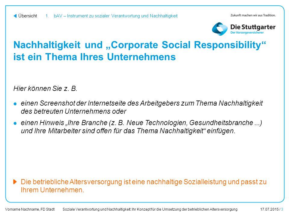 1. bAV – Instrument zu sozialer Verantwortung und Nachhaltigkeit