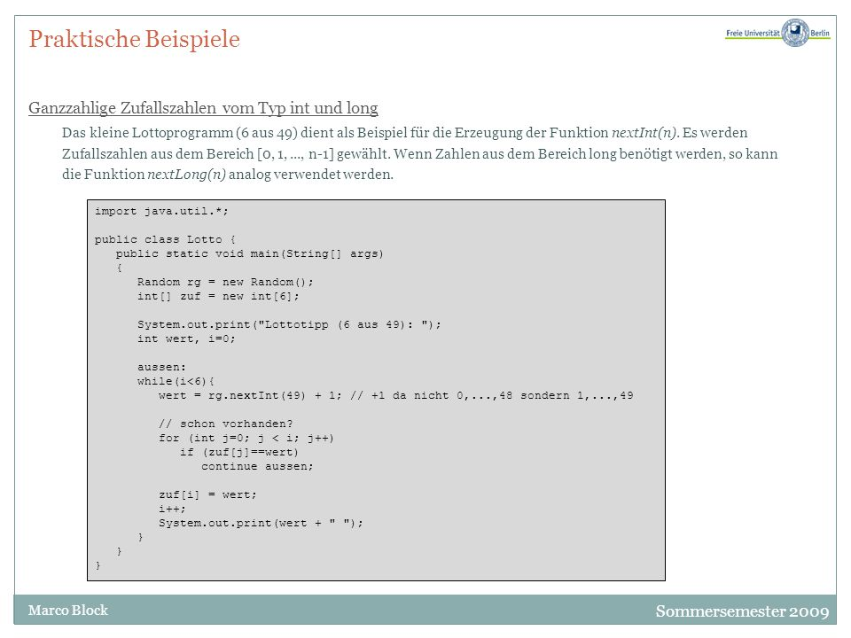 Praktische Beispiele Ganzzahlige Zufallszahlen vom Typ int und long