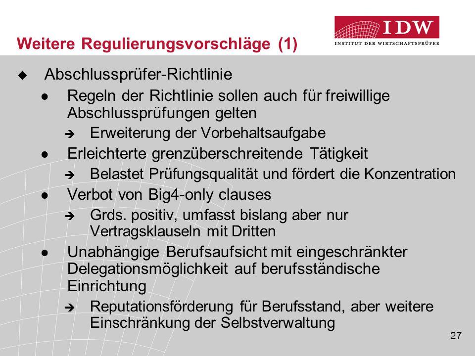 Weitere Regulierungsvorschläge (1)
