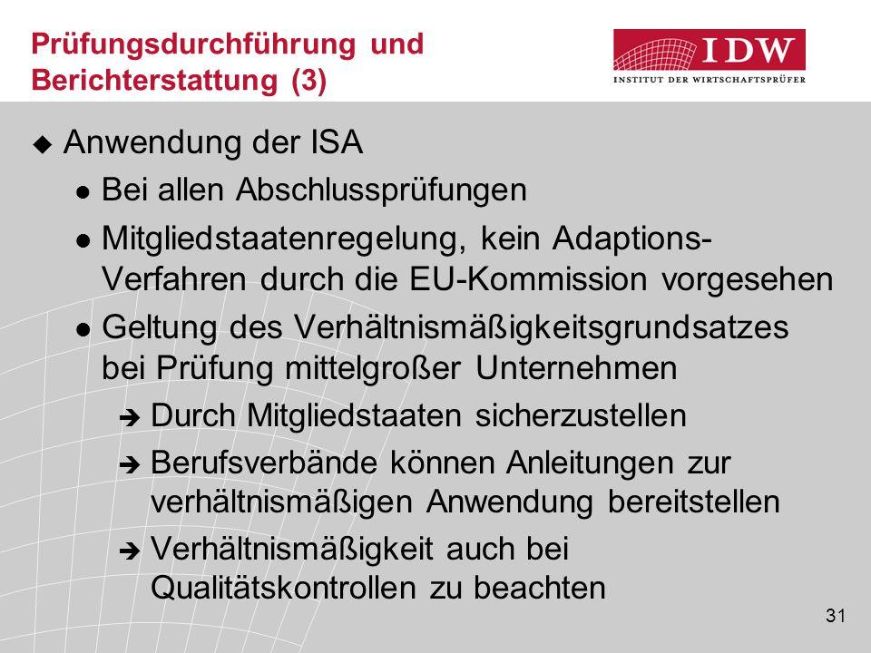 Prüfungsdurchführung und Berichterstattung (3)
