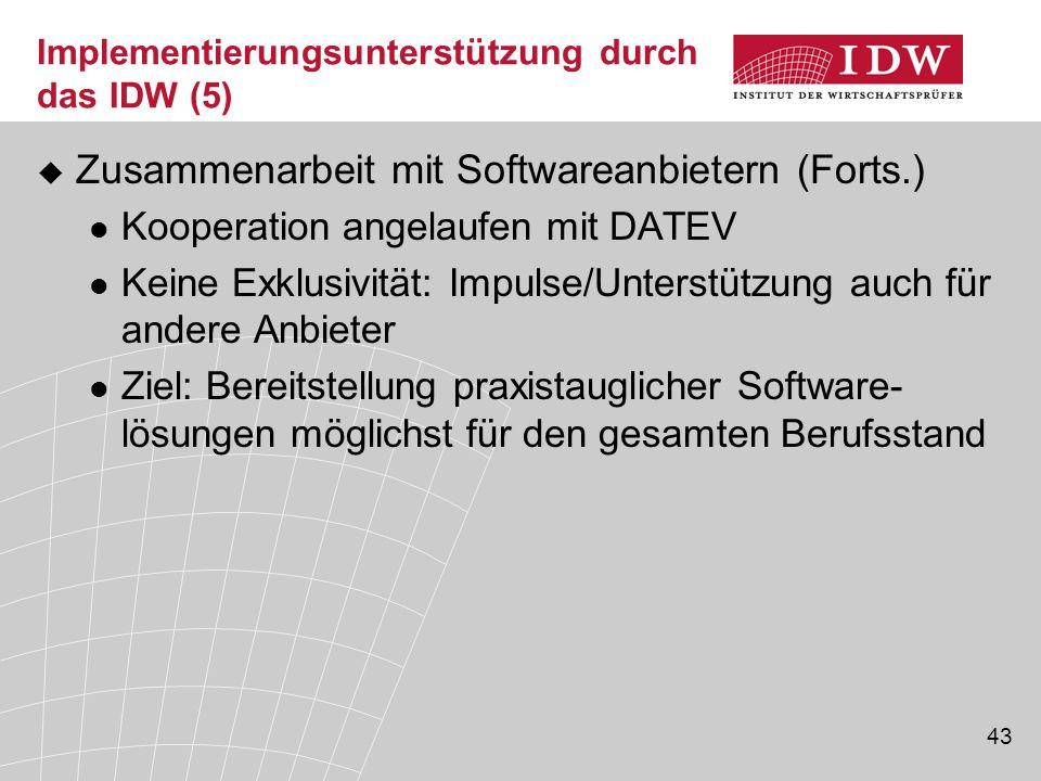 Implementierungsunterstützung durch das IDW (5)
