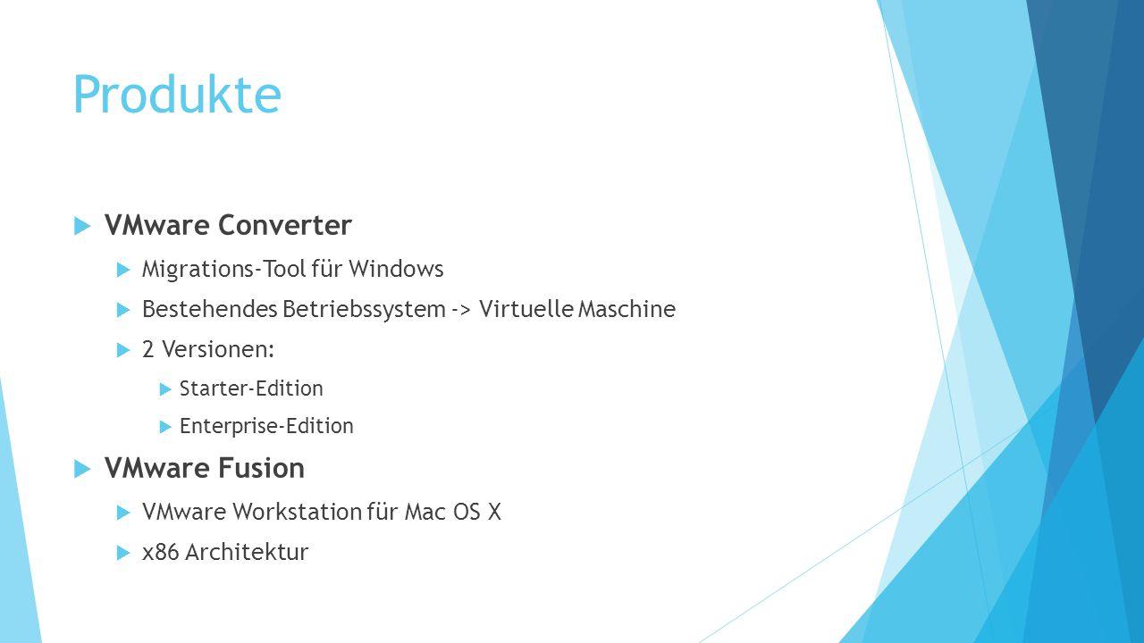 Produkte VMware Converter VMware Fusion Migrations-Tool für Windows