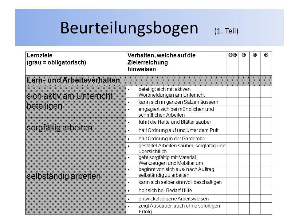 Beurteilungsbogen (1. Teil)