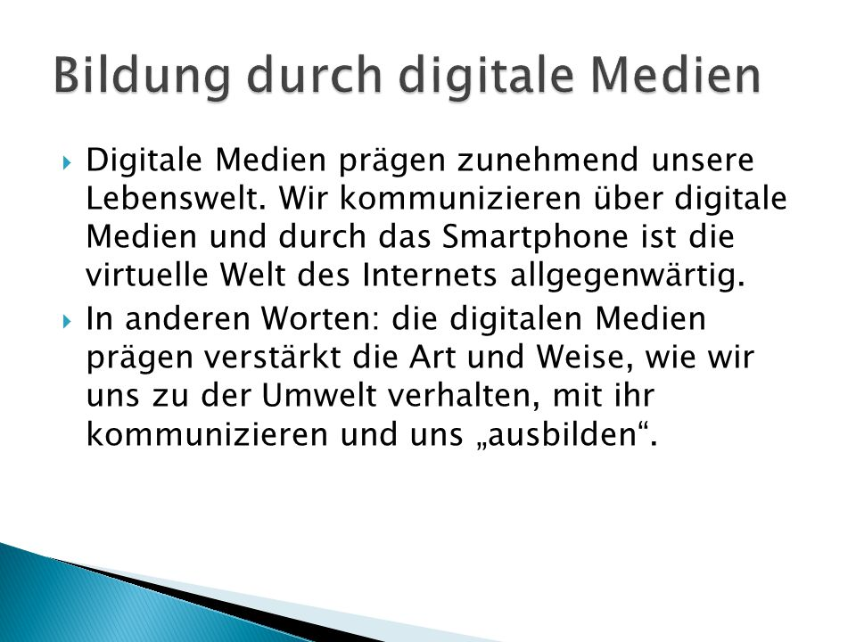 Bildung durch digitale Medien