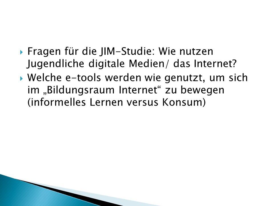 Fragen für die JIM-Studie: Wie nutzen Jugendliche digitale Medien/ das Internet