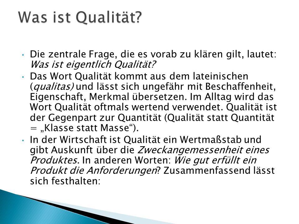 Was ist Qualität Die zentrale Frage, die es vorab zu klären gilt, lautet: Was ist eigentlich Qualität