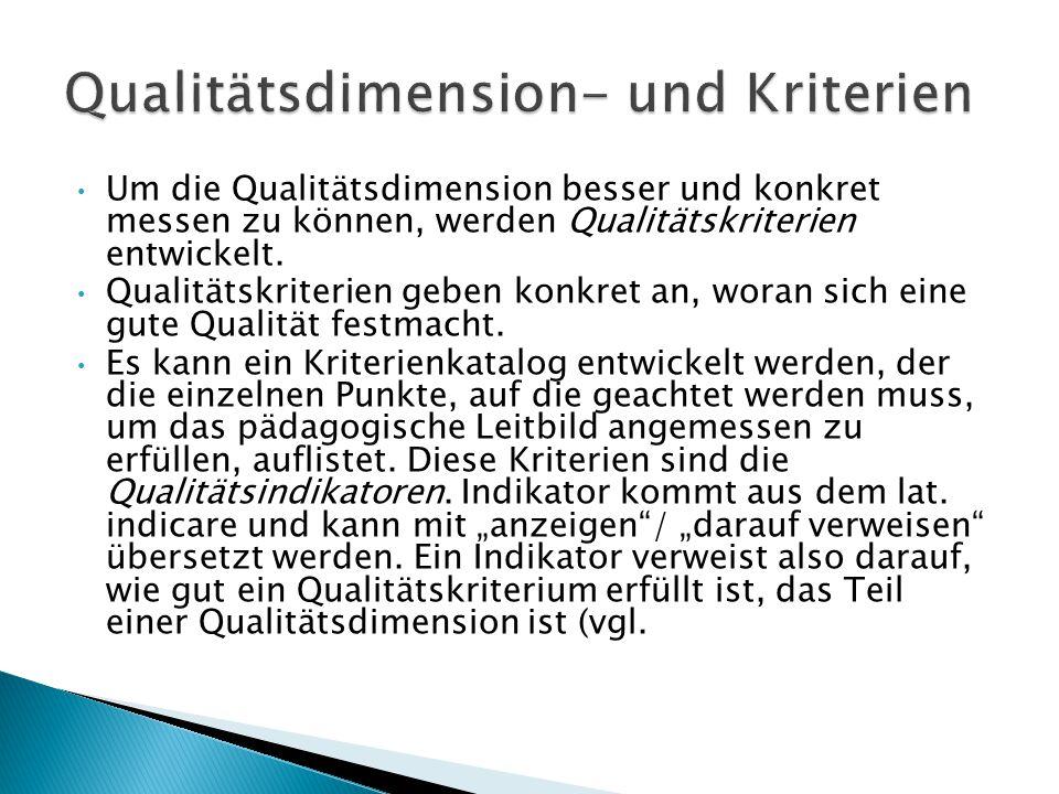 Qualitätsdimension- und Kriterien